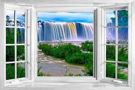 wall decals stickers home decor home furniture diy huge 3d window view waterfall nature forest wall sticker poster m2 620