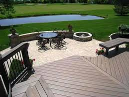 Deck And Patio Combination Pictures by Inspiring Cedar Wood Deck Interlocking Stone Patio And Stepping