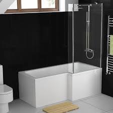 aquasoak 1700mm l shaped shower bath right hand