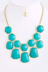 statement necklace store images Turquoise and gold statement necklace with matching gold earrings JPG