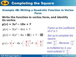 holt mcdougal algebra 2 5 4 completing the square g x 3
