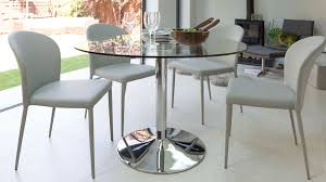 Modern Round Glass Table Chrome Pedestal  Seater Table - Glass for kitchen table
