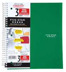 amazon com five star spiral notebook 3 subject wide ruled 150