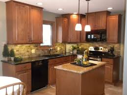 nice kitchen colors with oak cabinets and black countertops trendy