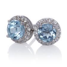 blue stud earrings 5mm halo blue topaz sterling silver stud earrings