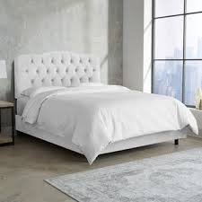 Bed Frame White Tufted Bed In Velvet White Skyline Furniture Free Shipping