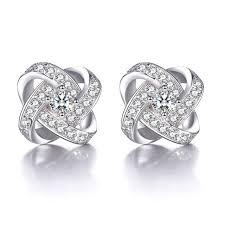 brinco zirconia js brand aaa cubic zircon flower channel stud earring for