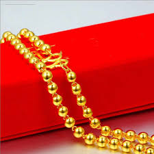 round beads necklace images Pure yellow gold smooth round beads chain necklace 999 gold 24k jpg