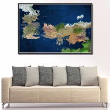 2049 game of thrones map in colour art print home decor fabric