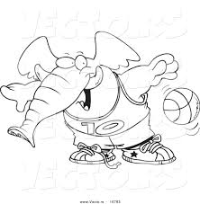 vector of a cartoon basketball elephant coloring page outline by
