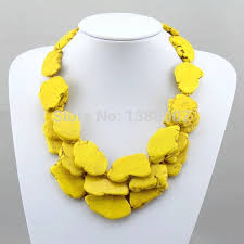 yellow turquoise necklace images High quanlity yellow beautiful jewelry necklace 3 row beautiful jpg
