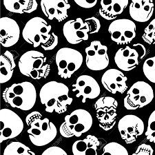 halloween seamless background 13769462 skulls in black background seamless pattern stock vector