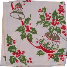 vintage linen table runner ornaments bells