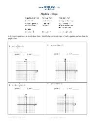 slope of a line worksheets worksheet slope slope intercept standard form point slope