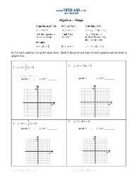 worksheet slope slope intercept standard form point slope