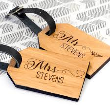 personalised wooden honeymoon luggage tags by allen boutique