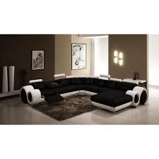 achat canap d angle canapé d angle panoramique cuir noir et blanc relax lory achat