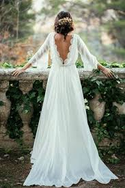 white wedding dress ivory chiffon lace wedding dresses flowy