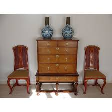 william and mary table and mary period walnut and marquetry chest on stand