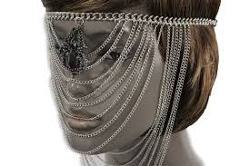 silver metal head multi chains elastic face mask silver web black