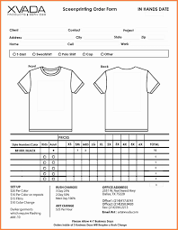Fundraiser Order Form Template Excel T Shirt Order Form