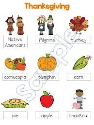 adventures in kindergarten thanksgiving vocabulary and a freebie
