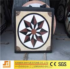 mixed marble square medallions floor tile inlay design pattern
