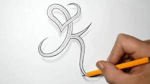 letter k and heart combined tattoo design ideas for initials