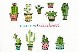 doodle cactus set vector art illustrations creative market