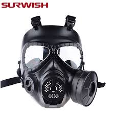 Masker Gas surwish cs gas paintball mask with fan airsoft mask