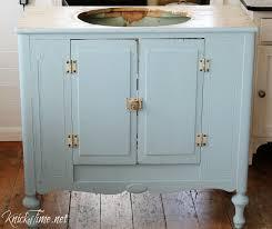Repurposed Furniture For Bathroom Vanity Vintage Cabinet Into A Bathroom Vanity Via Knickoftime Net