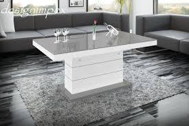 Wohnzimmertisch Grau Design Couchtisch H 333 Grau Weiß Hochglanz Höhenverstellbar