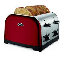 Amazon 4 Slice Toaster Amazon Com Oster Tssttrwf4r 4 Slice Toaster Red Kitchen U0026 Dining