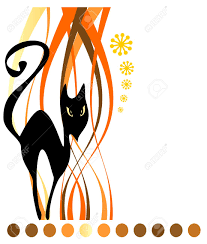 free cat halloween background pic stylized black cat on a white striped background halloween