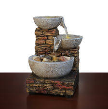 Small Water Fountains For Desk Cascading Brick Bowl Led Water Indoor Lights Rocks