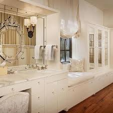 Bathroom Vanity With Seating Area by Glam Makeup Vanity With Beveled Mirror Transitional Bathroom