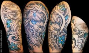 blue eyed grey japanese lion tattoo on half sleeve by brandon