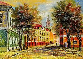painting hodyukov pattern town street autumn buildings house