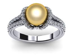 ribbon ring 14k yellow gold diamond golden pearl diamond ribbon ring