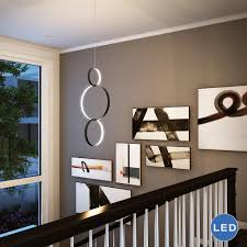 Modern Pendant Lighting Capella Vmp22200bl 34 U2033 X 16 U2033 Modern Three Ring Led Pendant Black