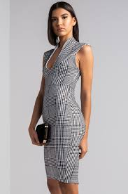 houndstooth dress sleeveless v neck bodycon knee length houndstooth dress