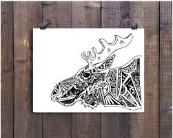 black and white art pen and ink animals moose illustration