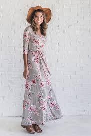 jolene floral taupe maxi wrap dress ella boutique store