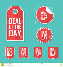 deal of the day sale sticker modern flat design red color tag
