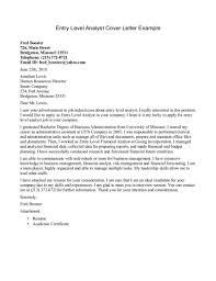 cover letter finance exles entry level cover letter expin franklinfire co