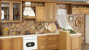 Stacked Stone Kitchen Backsplash by Design Charm Beige Varnished Wooden Cabinet Storage Ivory