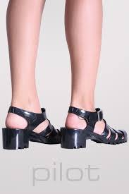 black block heel jelly sandals pilot clothing u2013 pilot