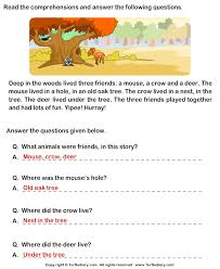 reading comprehension mouse crow and deer worksheet turtle diary