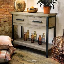 industrial console table with drawers hall furniture oak reclaimed wood console table modish living