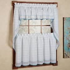 Yellow Kitchen Curtains Valances Appealing Percent Cotton Classic White Blue Window Pane Pattern